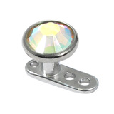 Titanium Dermal Anchor with Jewelled Disk Top (5.5mm diameter) 2.5mm, Crystal AB (Standard height)