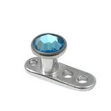 Titanium Dermal Anchor with Jewelled Disk Top (3mm diameter) 1.5mm, Light Blue