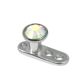 Titanium Dermal Anchor with Jewelled Disk Top (3mm diameter) 2.5mm, Crystal AB (Standard height)