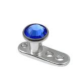 Titanium Dermal Anchor with Jewelled Disk Top (3mm diameter) 2.5mm, Sapphire (Standard height)
