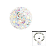 Smooth Glitzy Ball (Clip-in ball for BCRs) 4mm, Crystal AB (Rainbow)
