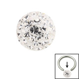 Smooth Glitzy Ball (Clip-in ball for BCRs) 4mm, Crystal Clear