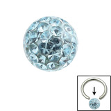 Smooth Glitzy Ball (Clip-in ball for BCRs) 4mm, Light Blue