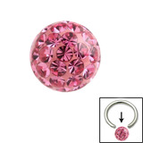 Smooth Glitzy Ball (Clip-in ball for BCRs) 4mm, Pink
