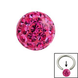 Smooth Glitzy Ball (Clip-in ball for BCRs) 4mm, Fuchsia