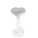 Bioflex Push-fit Labret with Steel Heart 1.6mm, 12mm, Steel Heart