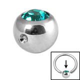 Steel Clip in Jewelled Balls 6mm turquoise