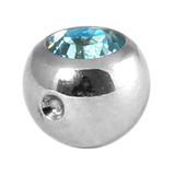 Titanium Clip in Jewelled Ball (for BCR) 5mm, Mirror Polish, Light Blue