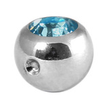 Titanium Clip in Jewelled Ball (for BCR) 5mm, Mirror Polish, Light Sapphire