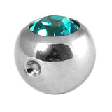 Titanium Clip in Jewelled Ball (for BCR) 5mm, Mirror Polish, Turquoise