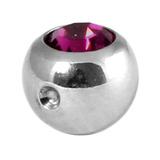 Titanium Clip in Jewelled Ball (for BCR) 5mm, Mirror Polish, Purple