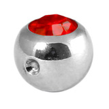 Titanium Clip in Jewelled Ball (for BCR) 5mm, Mirror Polish, Red
