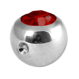 Titanium Clip in Jewelled Ball (for BCR) 5mm, Mirror Polish, Ruby Red