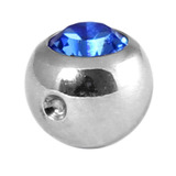 Titanium Clip in Jewelled Ball (for BCR) 5mm, Mirror Polish, Sapphire Blue