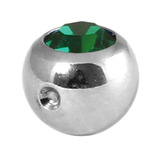 Titanium Clip in Jewelled Ball (for BCR) 5mm, Mirror Polish, Dark Green