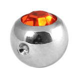 Titanium Clip in Jewelled Ball (for BCR) 5mm, Mirror Polish, Orange