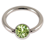 Titanium BCR with Titanium Jewelled Ball - Mirror Polish 1.6mm, 10mm, Mirror Polish with 5mm Light Green Gem