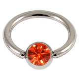 Titanium BCR with Titanium Jewelled Ball - Mirror Polish 1.6mm, 10mm, Mirror Polish with 5mm Orange Gem