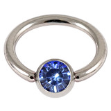 Titanium BCR with Titanium Jewelled Ball - Mirror Polish 1.6mm, 10mm, Mirror Polish with 5mm Sapphire Blue Gem