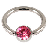 Titanium BCR with Titanium Jewelled Ball - Mirror Polish 1.6mm, 12mm, Mirror Polish with 5mm Pink Gem
