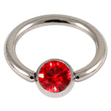 Titanium BCR with Titanium Jewelled Ball - Mirror Polish 1.6mm, 12mm, Mirror Polish with 5mm Red Gem