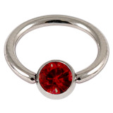 Titanium BCR with Titanium Jewelled Ball - Mirror Polish 1.6mm, 12mm, Mirror Polish with 5mm Ruby Red Gem