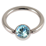 Titanium BCR with Titanium Jewelled Ball - Mirror Polish 1.6mm, 14mm, Mirror Polish with 5mm Light Blue Gem