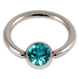 Titanium BCR with Titanium Jewelled Ball - Mirror Polish 1.6mm, 14mm, Mirror Polish with 5mm Turquoise Gem