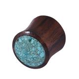 Organic Plug Sono Wood and Crushed Turquoise Stone (OG11) 10