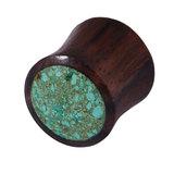 Organic Plug Sono Wood and Crushed Turquoise Stone (OG11) 12
