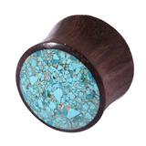 Organic Plug Sono Wood and Crushed Turquoise Stone (OG11) 18