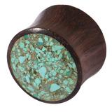 Organic Plug Sono Wood and Crushed Turquoise Stone (OG11) 20