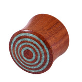Organic Plug Rengas Wood and Crushed Turquoise Stone Spiral (OG12) 6mm