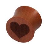 Organic Plug Saba Wood with Engraved Heart (OG13) 14