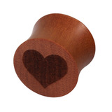Organic Plug Saba Wood with Engraved Heart (OG13) 16