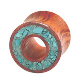Organic Eyelet Tunnel Rengas Wood and Crushed Turquoise Stone (OE15) 10mm