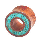 Organic Eyelet Tunnel Rengas Wood and Crushed Turquoise Stone (OE15) 14mm