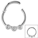 Steel Hinged Segment Ring with 3 Jewels (Clicker) 1.6mm, 10mm