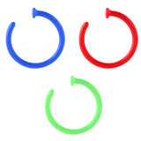 Multipacks - Bioflex Open Nose Rings 0.8mm, 7mm, Pack of 3. Green, Blue and Red