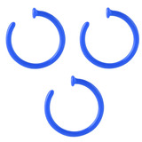 Multipacks - Bioflex Open Nose Rings 1.0mm, 9mm, Pack of 3 Blue