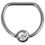 Titanium Jewelled D Ring 1.6 / 14 / Mirror Polish with Crystal Clear Gem