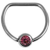 Titanium Jewelled D Ring 1.6 / 14 / Mirror Polish with Purple Gem