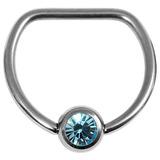 Titanium Jewelled D Ring 1.6 / 14 / Mirror Polish with Light Blue Gem
