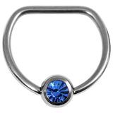 Titanium Jewelled D Ring 1.6 / 14 / Mirror Polish with Sapphire Gem