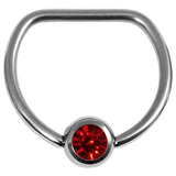 Titanium Jewelled D Ring 1.6 / 14 / Mirror Polish with Ruby Red Gem