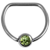 Titanium Jewelled D Ring 1.6 / 16 / Mirror Polish with Light Green Gem