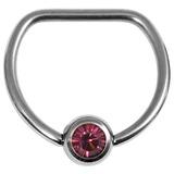Titanium Jewelled D Ring 1.6 / 16 / Mirror Polish with Purple Gem