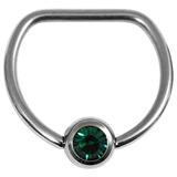 Titanium Jewelled D Ring 1.6 / 16 / Mirror Polish with Dark Green Gem