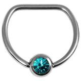 Titanium Jewelled D Ring 1.6 / 16 / Mirror Polish with Turquoise Gem