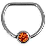 Titanium Jewelled D Ring 1.6 / 16 / Mirror Polish with Orange Gem